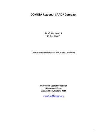 COMESA Regional CAADP Compact - FANRPAN