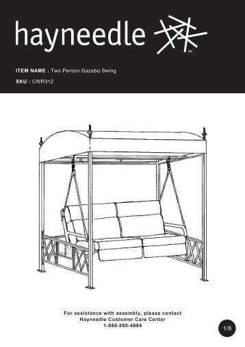 ITEM NAME : Two Person Gazebo Swing SKU ... - Hayneedle
