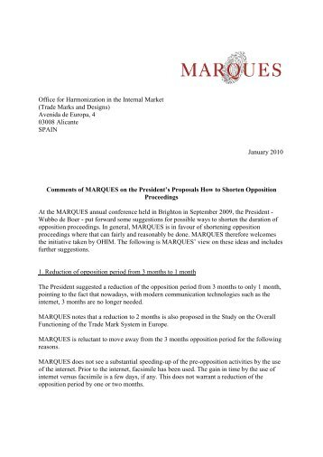 Comments of MARQUES on the President's Proposals How to ...