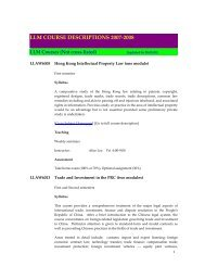 LLM - Faculty of Law, The University of Hong Kong