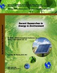 RECENT RESEARCHES in ENERGY & ENVIRONMENT ... - Wseas.us