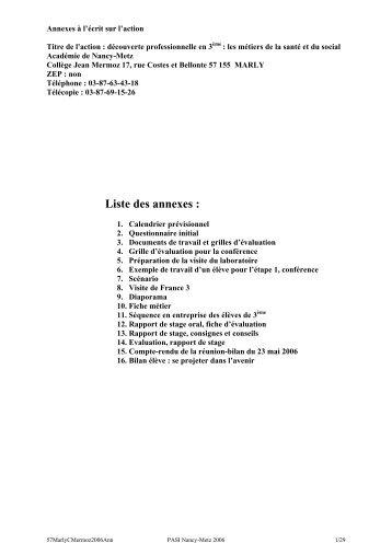Annexes au bilan : documents, outils, grilles d'évaluation...