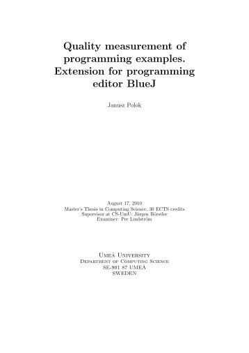 Quality measurement of programming examples. Extension for ...