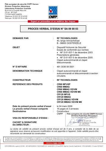 PROCES VERBAL D'ESSAI N° SA 09 00 03 - France Air