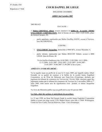 Faillite S.A. IMMO ENGLEBERT CORPORATION c - Juridat