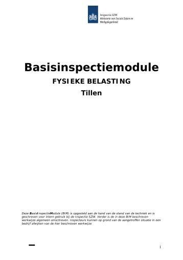 Basisinspectiemodule Fysieke belasting - Tillen - Inspectie SZW