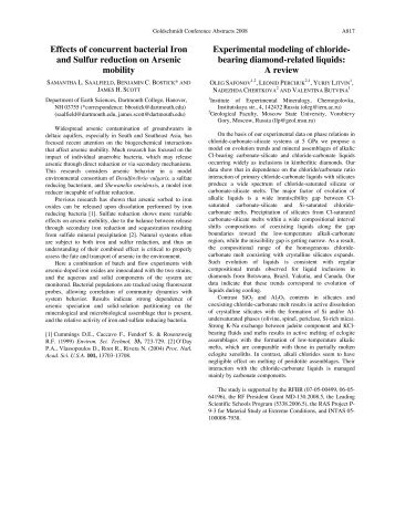 Effects of concurrent bacterial Iron and Sulfur reduction on Arsenic ...