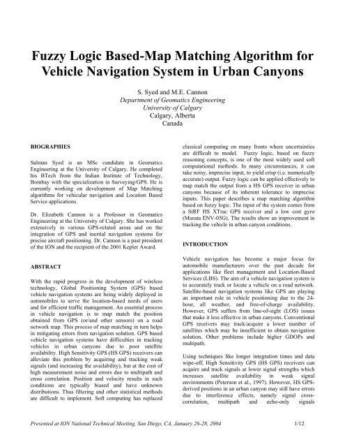 Fuzzy Logic Based-Map Matching Algorithm for Vehicle Navigation ...