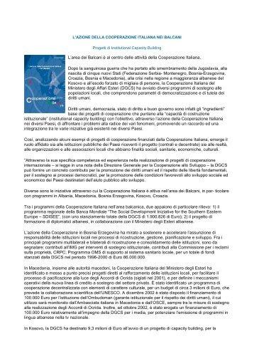 L'azione della Cooperazione Italiana nei Balcani