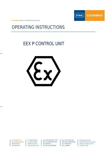 operating instructions eex p control unit - Electromach BV