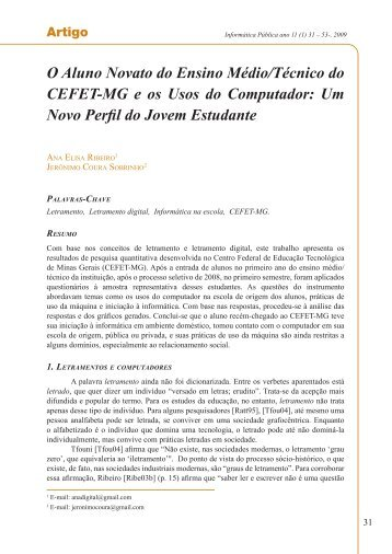 O Aluno Novato do Ensino Médio/Técnico do CEFET ... - Revista iP