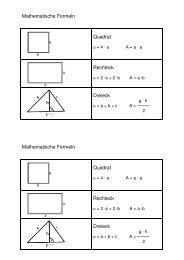 Mathematische Formeln Quadrat Rechteck Dreieck ... - schulnetz