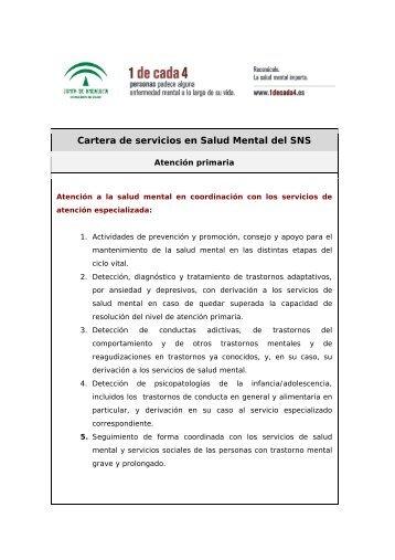 Cartera de servicios en Salud Mental del SNS - Página 1 de cada 4
