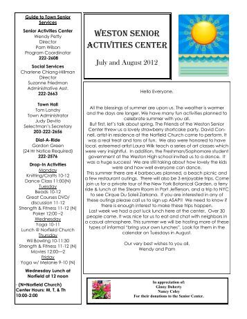Senior Center News & Calendar July - August 2012
