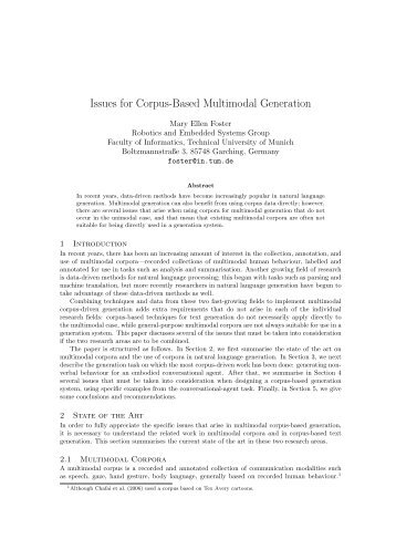 Issues for Corpus-Based Multimodal Generation - ResearchGate