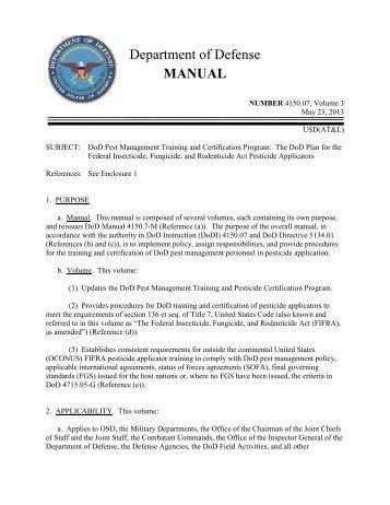 DoD Manual 4150.07, Vol. 3, May 23, 2013 - Defense Technical ...