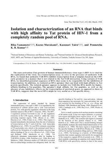 Isolation and characterization of an RNA that binds with high affinity ...