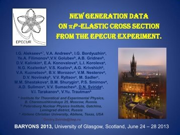 baryons 2013 - Nuclear Physics - University of Glasgow