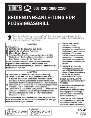 BEDIENUNGSANLEITUNG FÜR FLÜSSIGGASGRILL - BBQ-Shop24