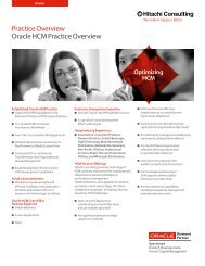 Practice Overview Oracle HCM Practice Overview - Hitachi Consulting