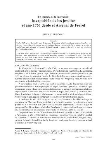 la expulsión de los jesuitas el año 1767 desde el Arsenal de Ferrol