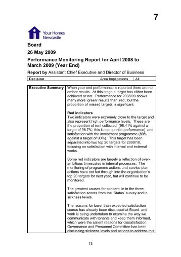 Performance Monitoring Report for April 2008 to March 2009