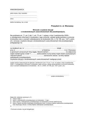 Wniosek o dÅ› zawsze - Warszawa