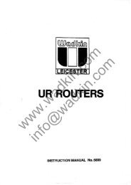 Wadkin URB URF Router Manual and Parts List