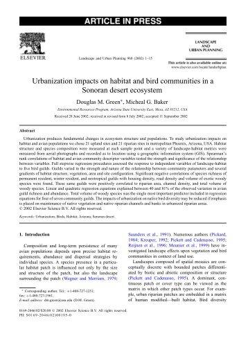 Urbanization impacts on habitat and bird communities in a Sonoran ...