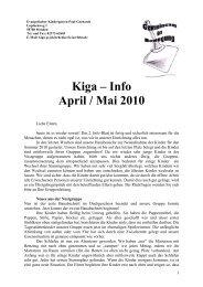Kiga – Info April / Mai 2010