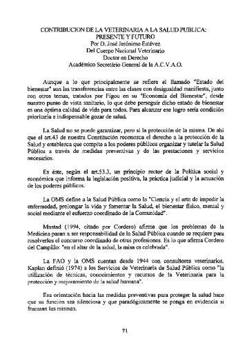 CONTRIBUCIÓN DE LA VETERINARIA A LA SALUD PUBLICA ...