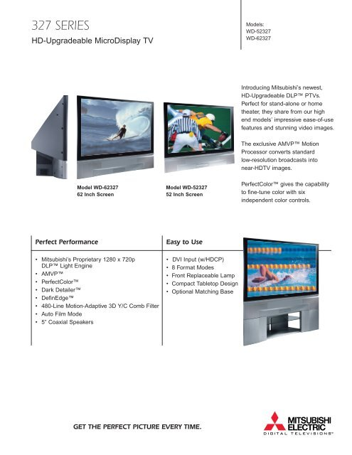 Full-Color Brochure from Mitsubishi - DLP TV Review