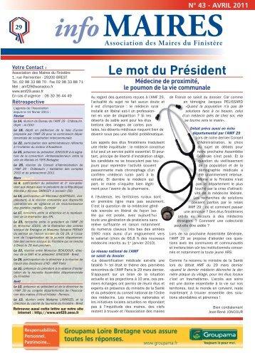Info-Maires 43 - Association des Maires du Finistère