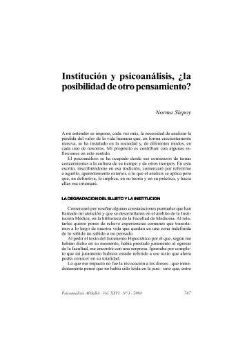 Institución y psicoanálisis, ¿la posibilidad de otro pensamiento?