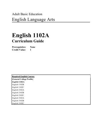 English 1102A Curriculum Guide 2005-06