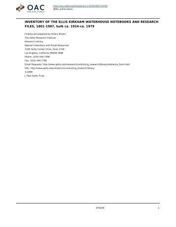 Ellis Kirkham Waterhouse notebooks and ... - OAC PDF server