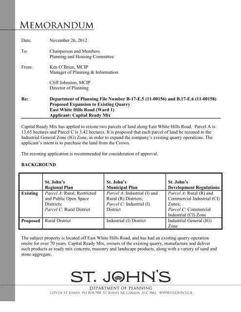 Background Information - City of St. John's