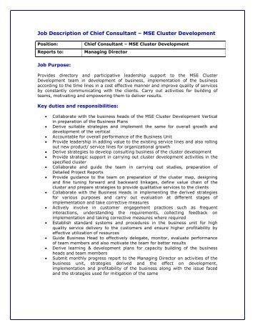 Job Description of Chief Consultant - MSE Cluster Development