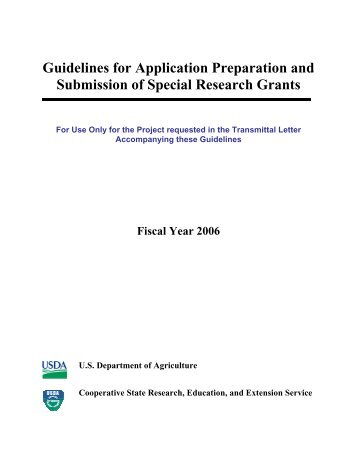 Guidelines for Application Preparation and Submission of Special ...
