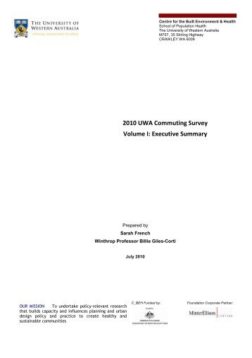 2010 UWA Commuting Survey Vol I Exec Summ - The University of ...