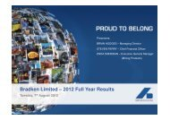 Bradken Limited – 2012 Full Year Results