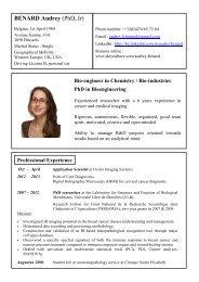 CV Audrey Bénard - Doctorat