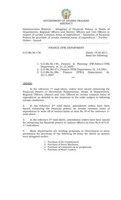 G O Ms No 178 FINANCE (TFR) DEPARTMENT     - Seri ap gov in