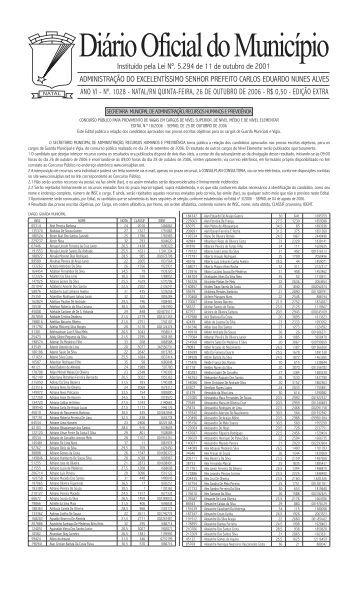 DOM 1028 25 de outubro de 2006 - Prefeitura Municipal do Natal