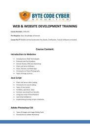 web & website development training - Byte Code Cyber Security