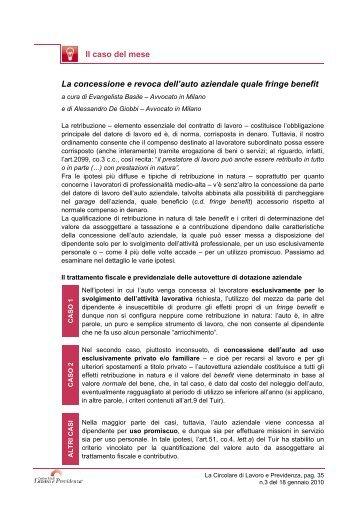 fringe benefit - Centro Studi Lavoro e Previdenza