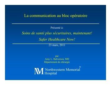 La communication au bloc opératoire