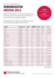 Kursregister Hösten 2013 (pdf) - Folkuniversitetet