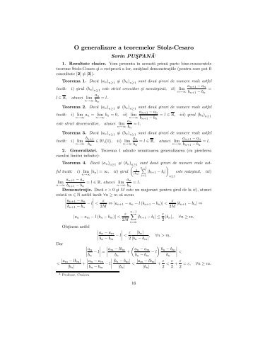 O generalizare a teoremelor Stolz-Cesaro - Sorin PUŞPANĂ