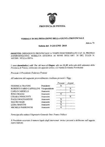 Presiede il Presidente Federica Fratoni Al1 'adozione ... - Utgpistoia.It
